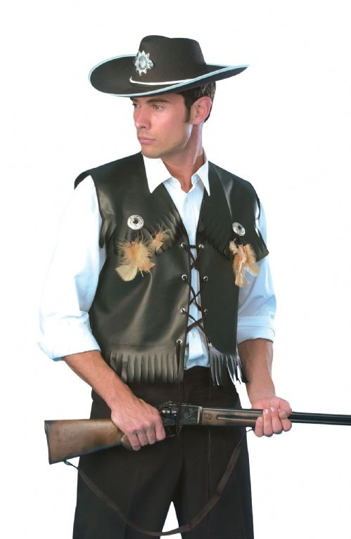 Mens Cowboy Waistcoat Black Costume American Wild West & Indians Fancy Dress